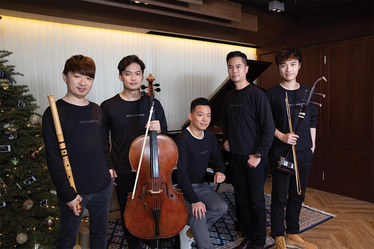 From left to right: Yukio Chidori, Shakuhachi; Tan Cong, cello; Peco Chui, piano; Anthony Cheng, artistic director; Wan Pin Chu, Erhu.  Photo credit: Yoko Tsai.